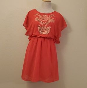 Dresses & Skirts - Red gold flowy dress S